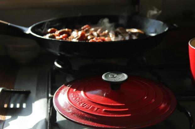 Frying beef